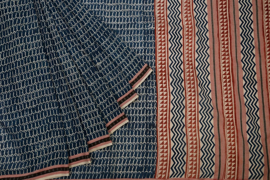 Cotton Handblock Print Saree In Dark Blue Colour Natural Dye