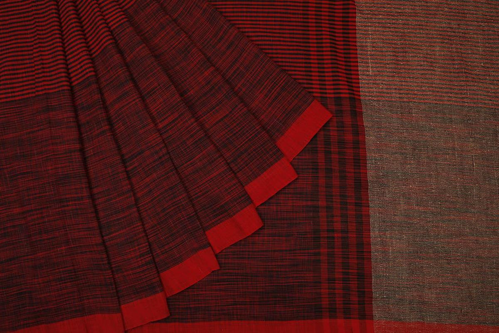 bengal cotton handwoven black and red stripe Saree