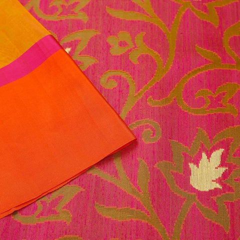 Orange And Magenta Pink Organza Silk Jamdani Weave Saree