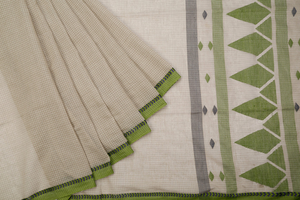 Phulia Handloom Cotton Cement Grey Body Saree