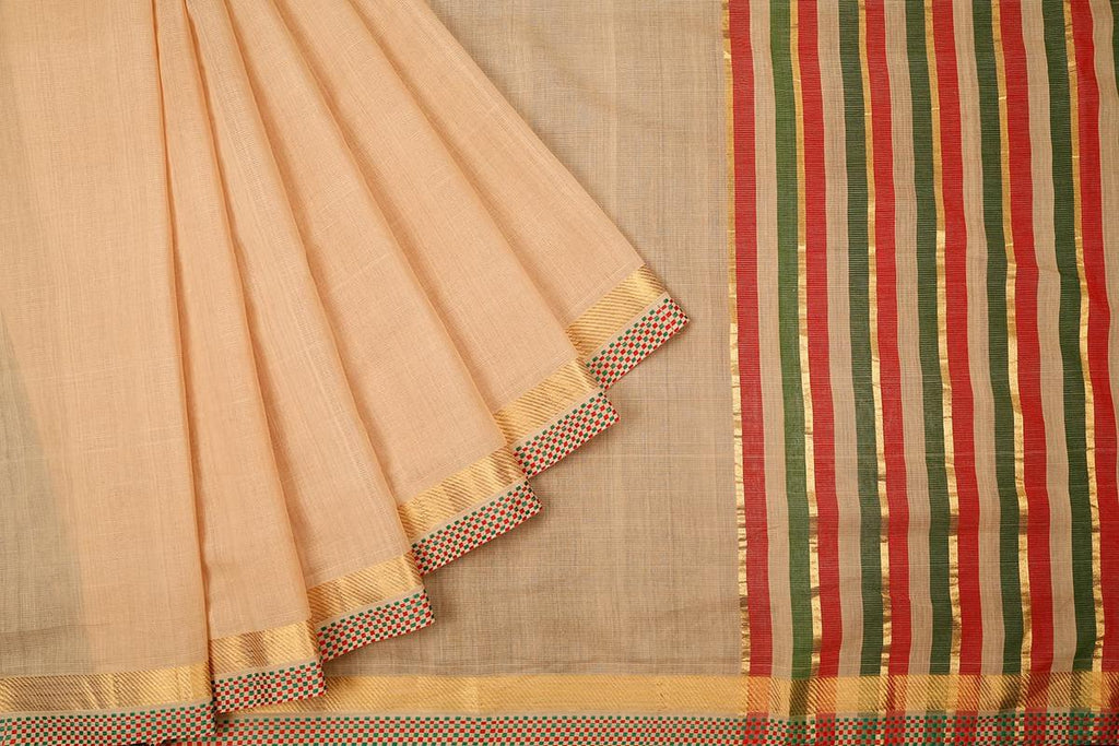 Cream Handloom Cotton Saree With Chatai Pattern Zari Border