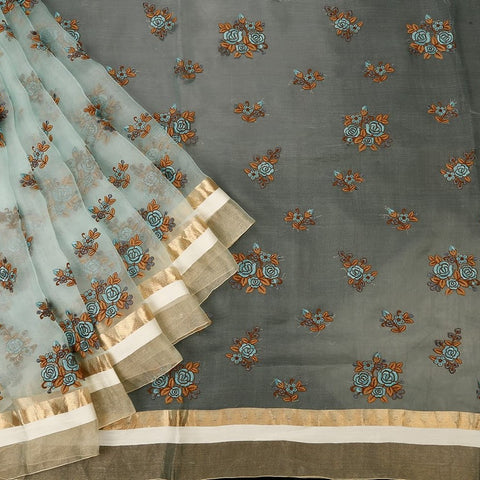 Handwoven Organza Silk Pastel Parsi Work Saree With Golden And White Temple Border