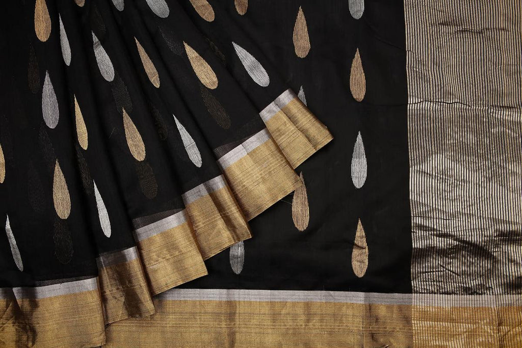 chanderi silk by silk black silver and golden butta Saree