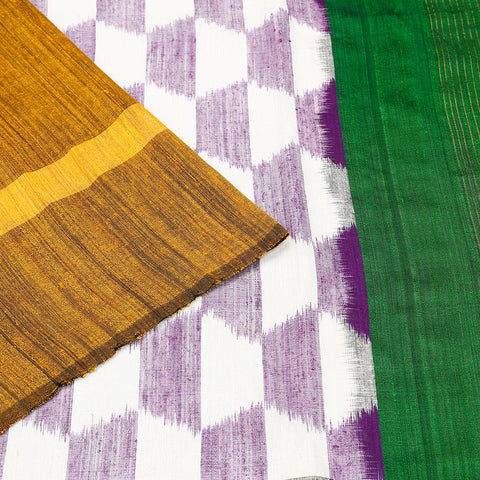 Pochampally ikkat matka purple white body Saree
