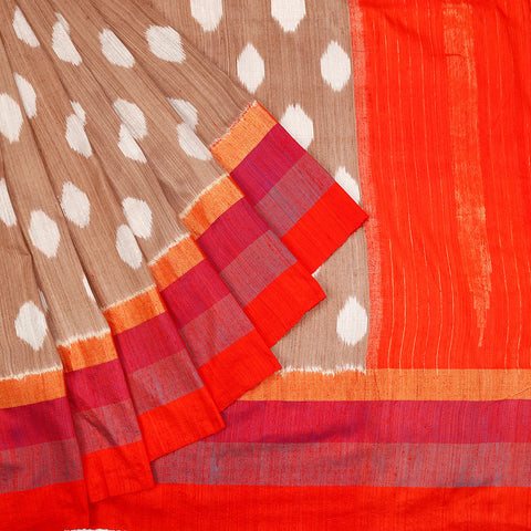 Pochampally Ikkat Matka Brown White Body Saree