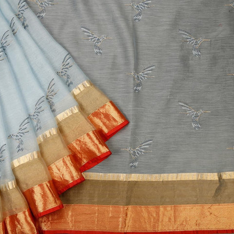 Handwoven maheshwari silk light sky blue Parsi work Saree With red and golden plain border