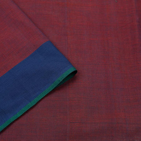 Greenish Red Handloom Silk Cotton Saree With Plain Blue Border