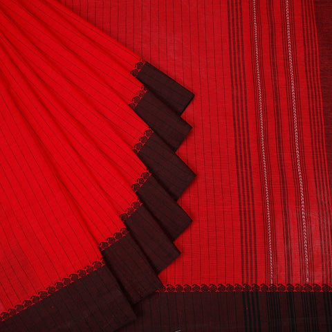 Begampur  Cotton Red Saree  With Matha Border