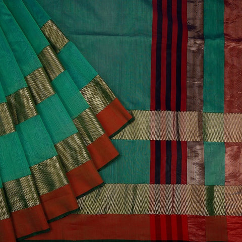 Maheshwari Cotton Silk Saree In Green