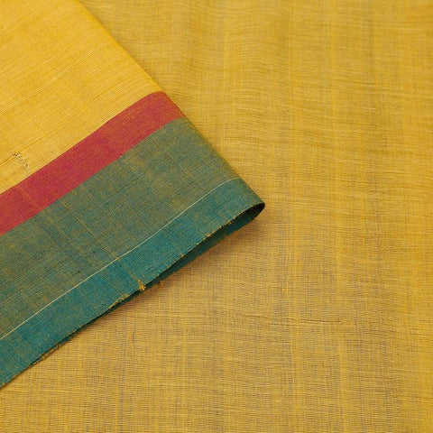 Yellow Handloom Silk Cotton Saree With Tri Color Border
