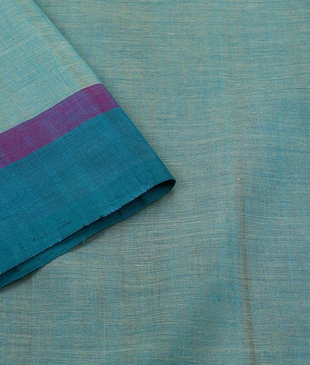 Sky Blue Handloom Silk Cotton Saree With Plain Blue And Purple Border