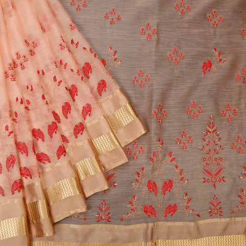 Handwoven chanderi peach  Parsi work Saree With golden zigzag border