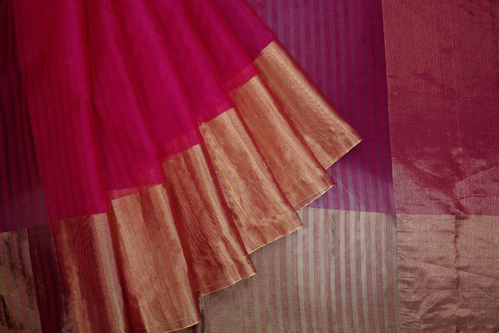 chanderi silk by Cotton dark pink light stripes Saree