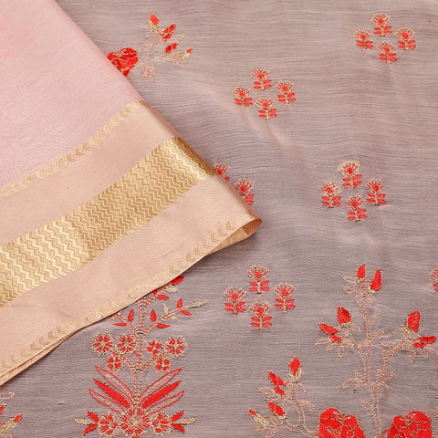 Handwoven chanderi pink Parsi work Saree