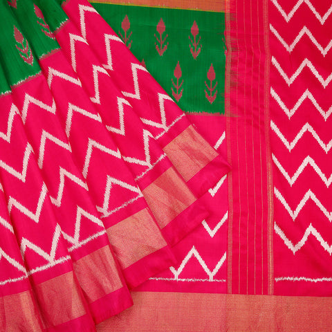 Pochampally ikkat silk tri colour body Saree