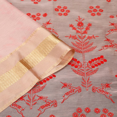 Handwoven chanderi pink Parsi work Saree With golden zigzag border