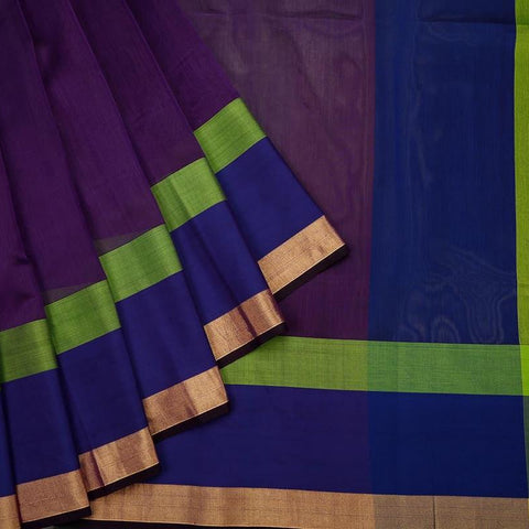 Maheshwari Purple Cotton Silk Saree