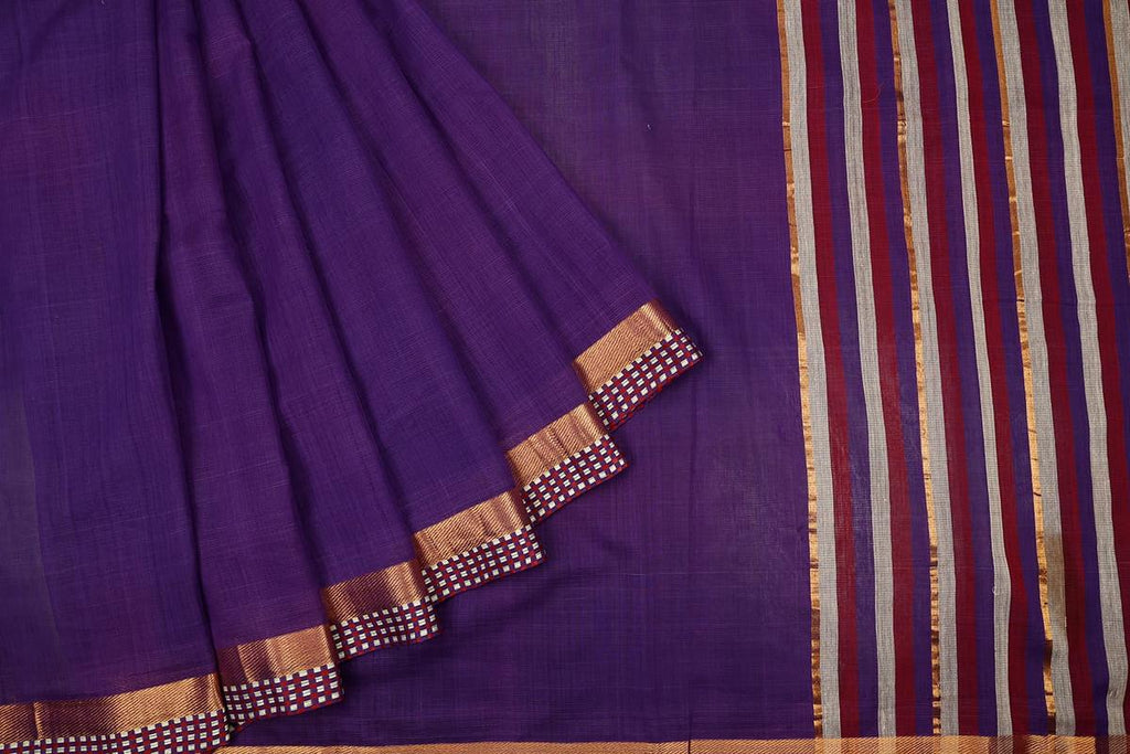 Dark Purple Handloom Silk Cotton Saree With Chatai Pattern Zari Border