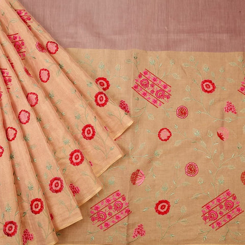 Handwoven maheshwari silk pink Parsi work Saree With golden zigzag border
