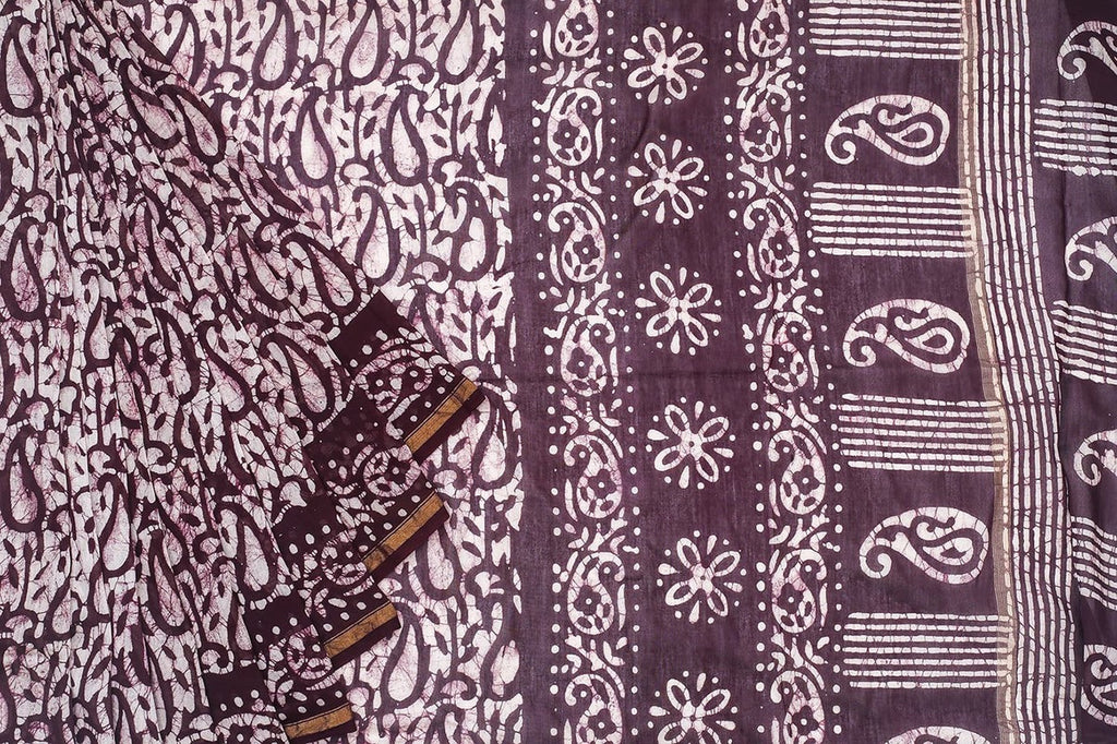 Chanderi Silk Cotton Brown Saree With Marbling Pattern Pattern