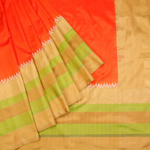 Pochampally ikkat silk orange body Saree