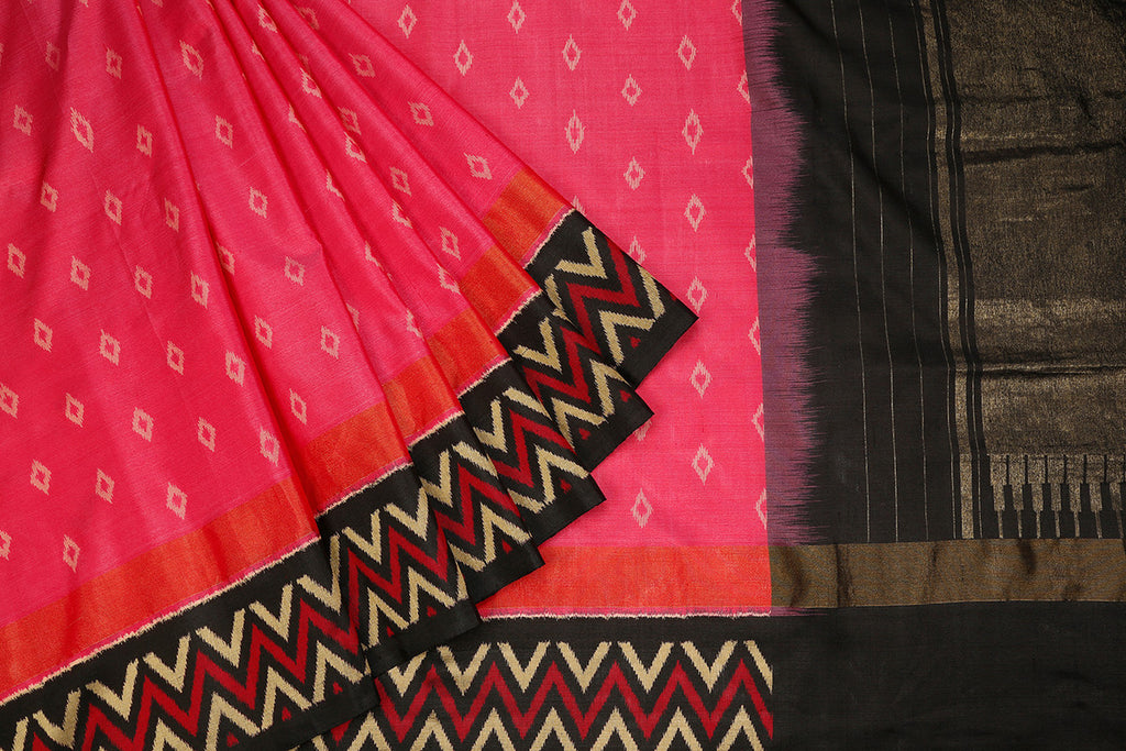 Pochampally Ikkat Silk Black & Pink Saree