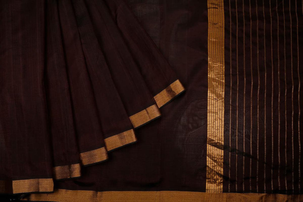 Dark Brown Handloom Cotton Saree With Zari Border