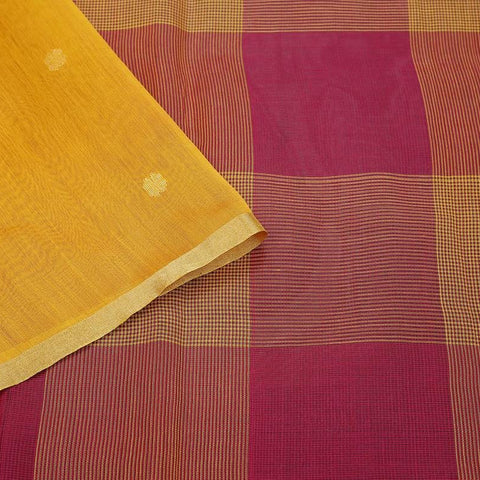 Maheshwari handwoven maheshwari pink and yellow yellow and red checks Saree