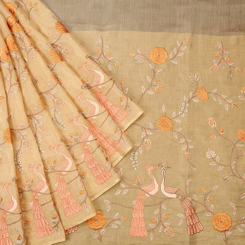 Handwoven maheshwari silk golden Parsi work Saree With