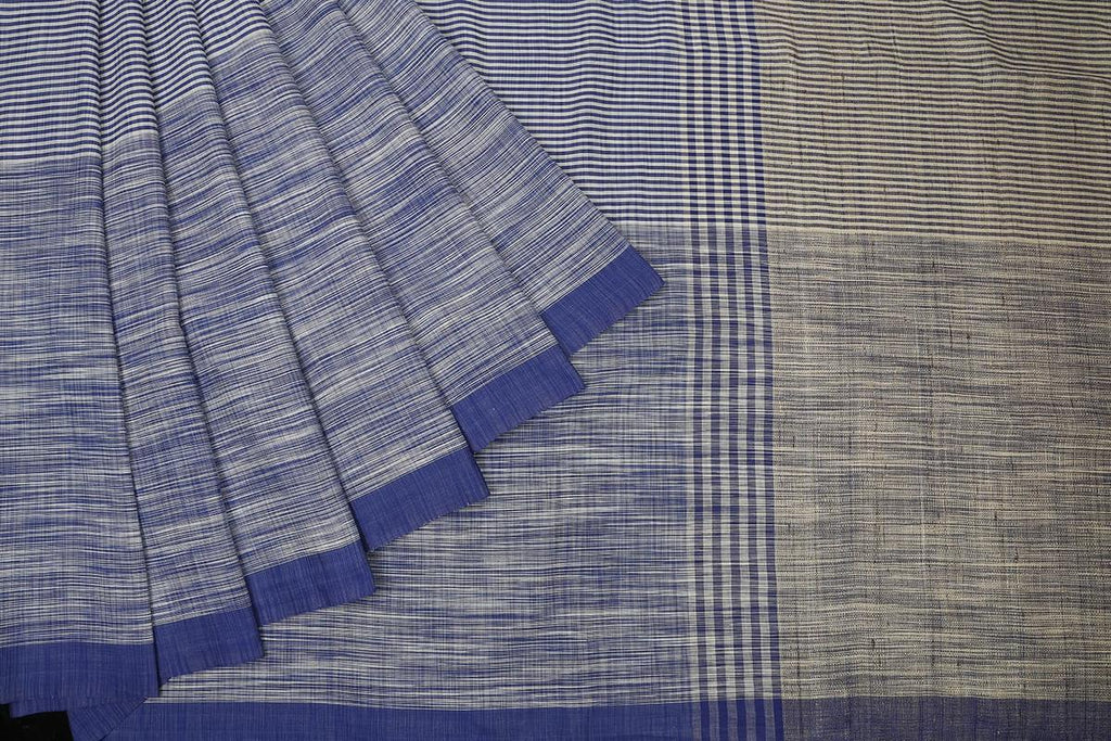 bengal cotton handwoven blue and white stripe Saree