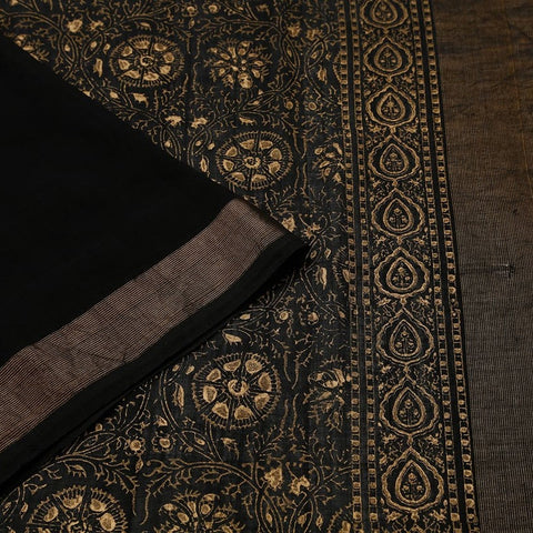 Cotton Handblock Print Saree In Black Colour Natural Dye