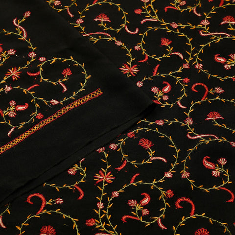 Kashmiri Stitch Hand Embroidered Crepe Black Saree