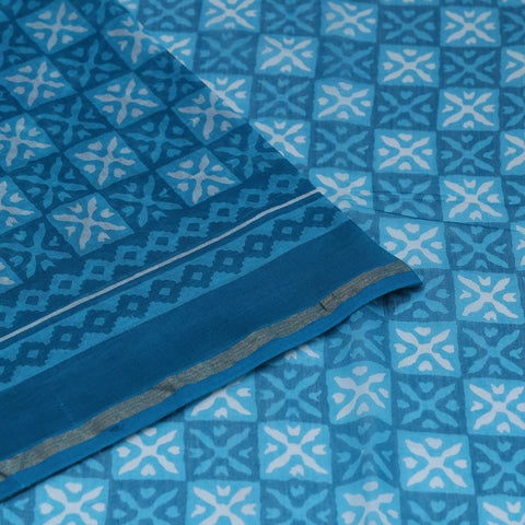 Chanderi Silk Cotton sky blue saree with marbling pattern pattern
