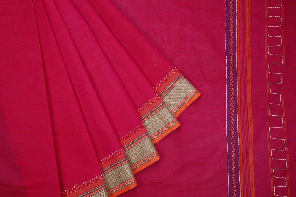 South Cotton Hand Embroidered Cotton Dark Magenta Saree