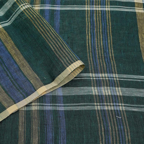 handwoven linen multi color checks Saree