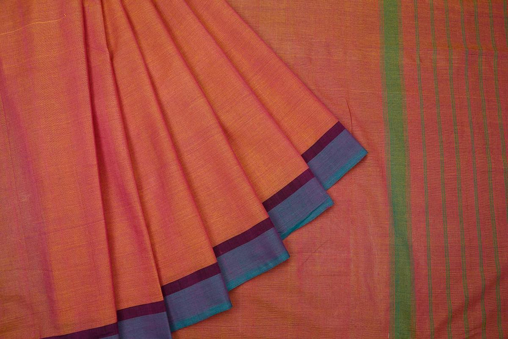 Peach Handloom Cotton Saree With Blue And Red Border