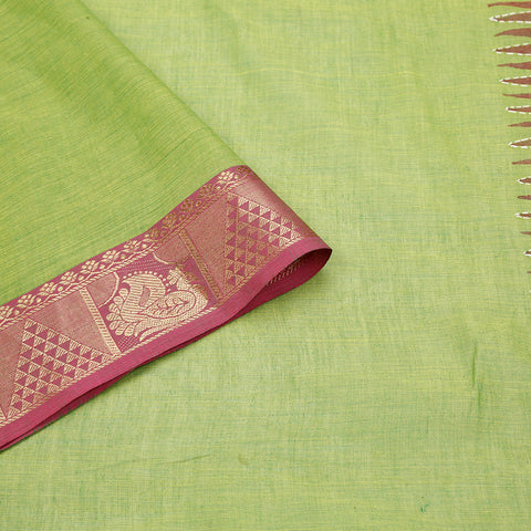 south cotton hand embroidered cotton green Saree