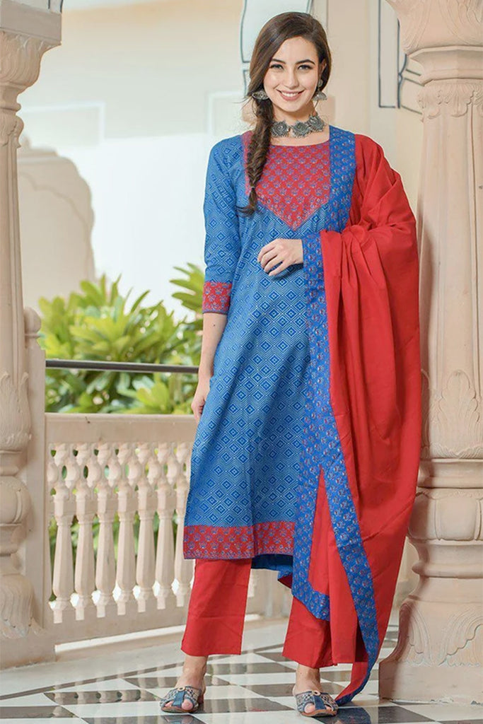 royal blue and red kurta set