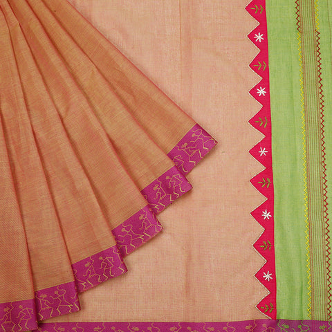 south cotton hand embroidered cotton beige short colour Saree