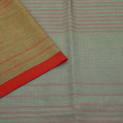 handwoven cotton grey pink stripes Saree