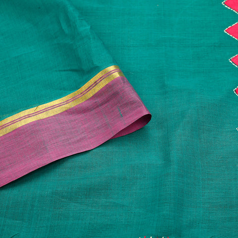south cotton hand embroidered cotton sea green purple 1/2& 1/2 Saree