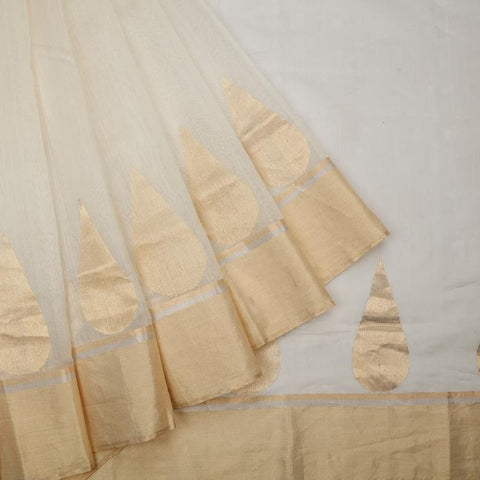 Chanderi silk by cotton white plain Saree