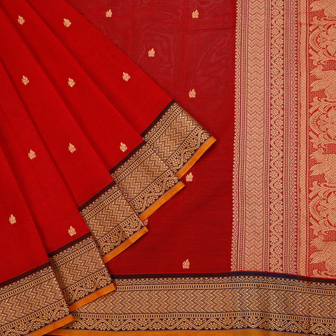 south cotton handloom cotton red Saree