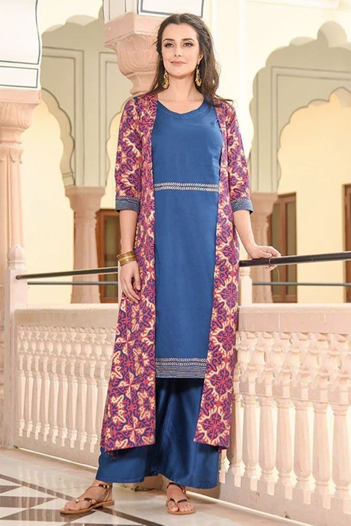 royal blue long jacket kurta with palazzo