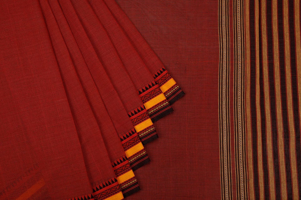Begampur  Cotton Brown Saree  With Naksha Border