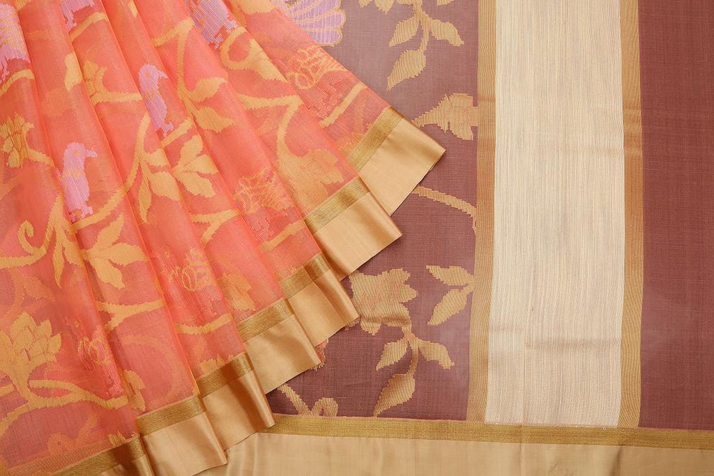 Dark Peach  Organza Silk Jamdani Weave Saree