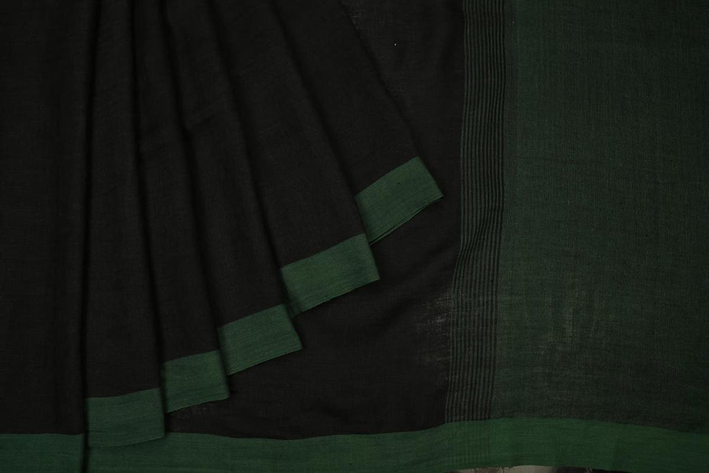 bengal linen handwoven black and green plain Saree