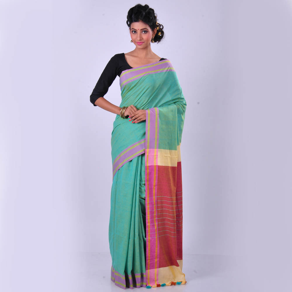 Bengal Cotton Handwoven Sea Green Plain Body Saree