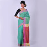 green-handwoven-cotton-sari-CRS14
