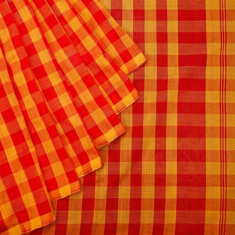 Mangalgiri Yellow And Red Cotton Silk Saree